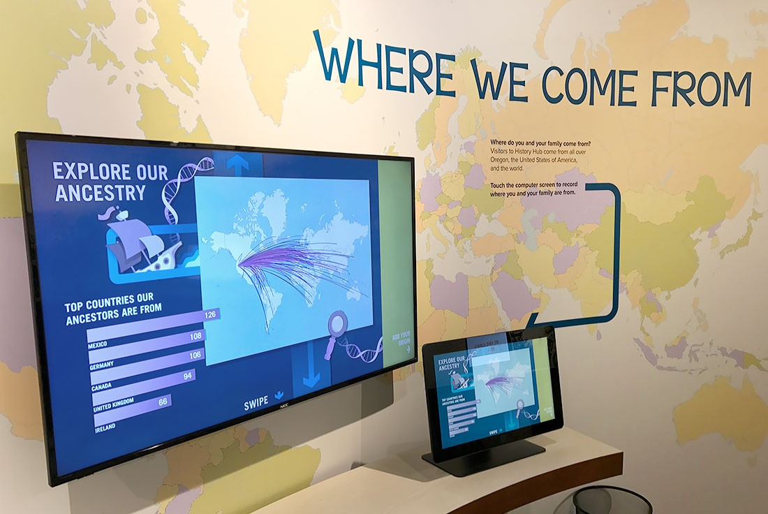 Photo of Where We Come From interactive touchscreen and larger mirrored screen